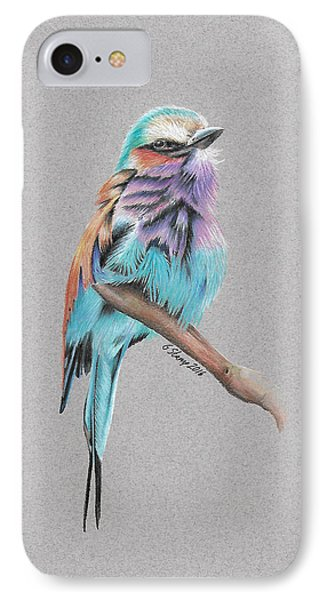 IPhone Case featuring the drawing Lilac Breasted Roller by Gary Stamp