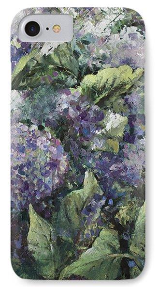 Hydrangea-modern Palette Knife Abstract Flower IPhone Case by Vali Irina Ciobanu