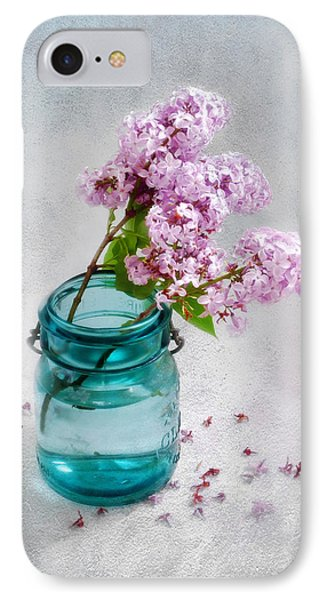 Lilacs In A Glass Jar Still Life IPhone Case by Louise Kumpf