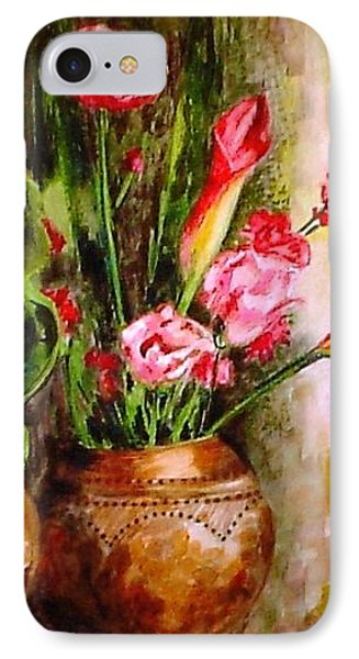 IPhone Case featuring the painting Lilies In The Pots by Harsh Malik