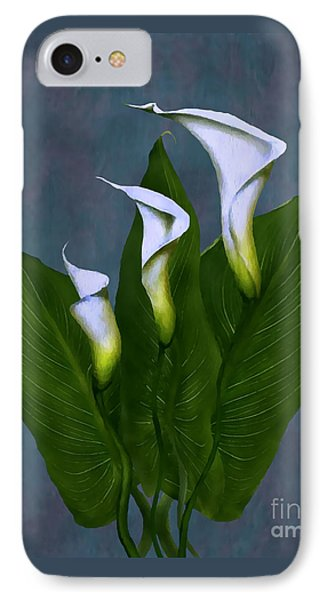 IPhone Case featuring the painting White Calla Lilies by Peter Piatt