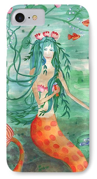 Lily Pond Mermaid With Goldfish Snack Phone Case by Sushila Burgess