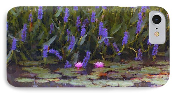 Lily Pond Watercolor Painting IPhone Case
