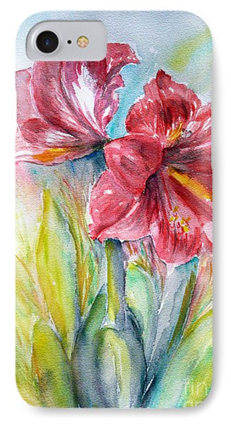 IPhone Case featuring the painting Lily Red by Jasna Dragun