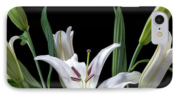 A White Oriental Lily Surrounded IPhone Case by David Perry Lawrence