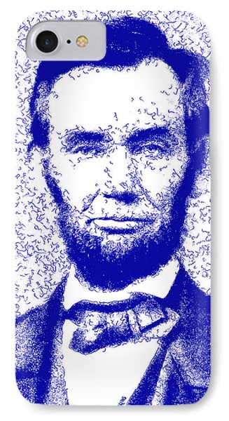 Lincoln Abstract Blue IPhone Case by Greg Collins