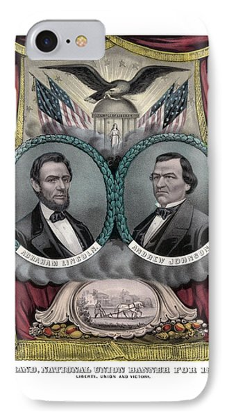 Lincoln And Johnson Election Banner 1864 Phone Case by War Is Hell Store