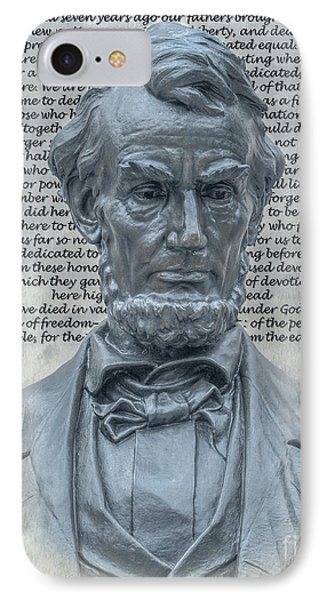 Lincoln Bust And Gettysburg Address IPhone Case by Randy Steele