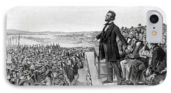 Lincoln Delivering The Gettysburg Address IPhone 7 Case by War Is Hell Store