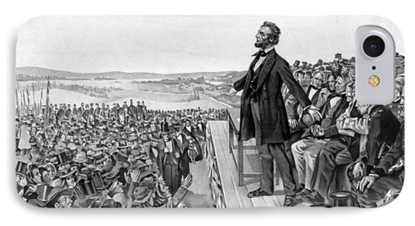 Abraham Lincoln iPhone 7 Case - Lincoln Delivering The Gettysburg Address by War Is Hell Store