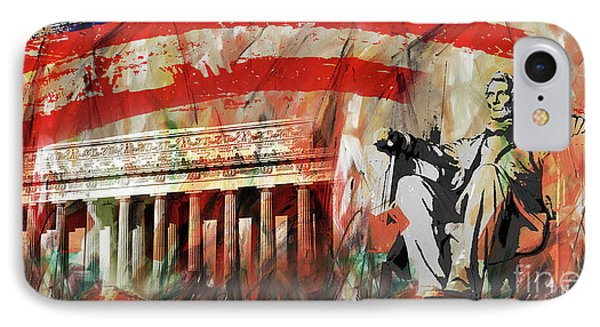 IPhone Case featuring the painting Lincoln Memorial And Lincoln Statue by Gull G