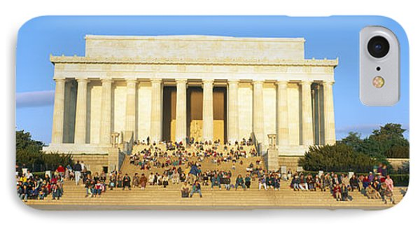 Lincoln Memorial And Tourists IPhone Case by Panoramic Images