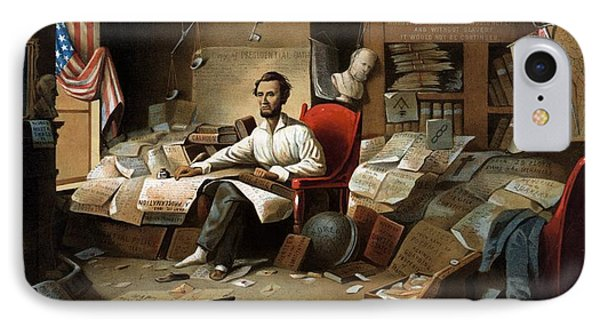 Lincoln Writing The Emancipation Proclamation Phone Case by War Is Hell Store