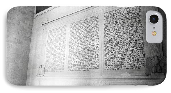 lincolns second inaugural address inside the lincoln memorial Washington DC USA IPhone Case