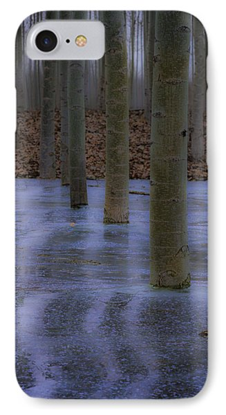 Line Of Trees In Ice IPhone Case by Jean Noren