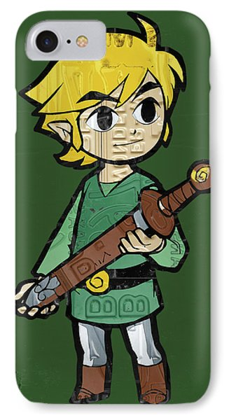 Link Legend Of Zelda Nintendo Retro Video Game Character Recycled Vintage License Plate Art Portrait IPhone Case by Design Turnpike