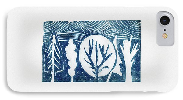 Linocut Trees IPhone Case by Anastasia Bogdanova