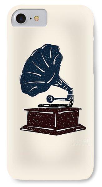 Linoleum Cut Gramophone Design IPhone Case by Shawn Hempel