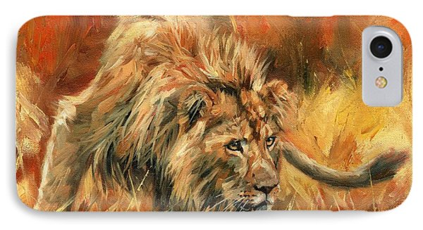 IPhone Case featuring the painting Lion Alert by David Stribbling
