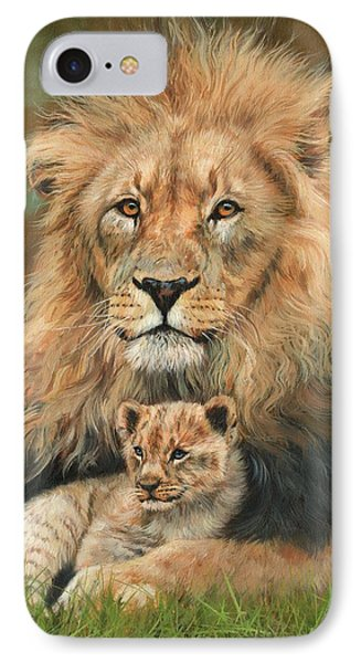 Lion And Cub IPhone Case by David Stribbling