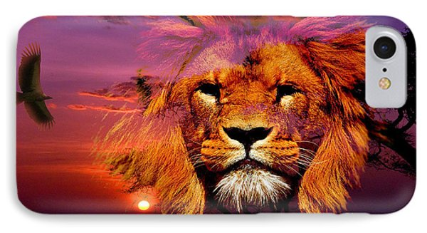 Lion And Eagle In A Sunset IPhone Case