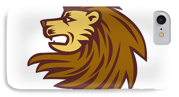 Lion Big Cat Head Woodcut IPhone Case