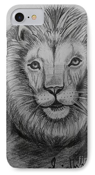IPhone Case featuring the painting Lion by Brindha Naveen