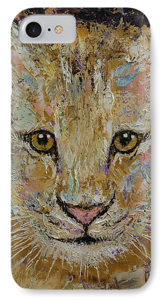 Lion Cub IPhone Case by Michael Creese