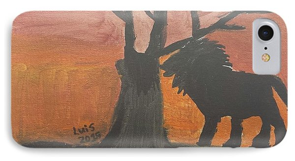 IPhone Case featuring the painting Lion by Epic Luis Art