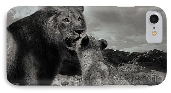 IPhone Case featuring the photograph Lion Family Panorama by Christine Sponchia