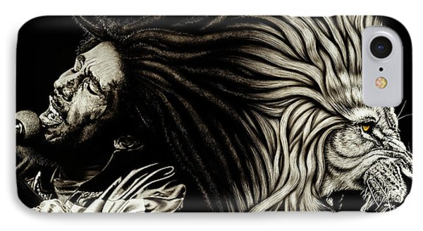 Lion Heart -bob Marley IPhone Case by Dan Menta
