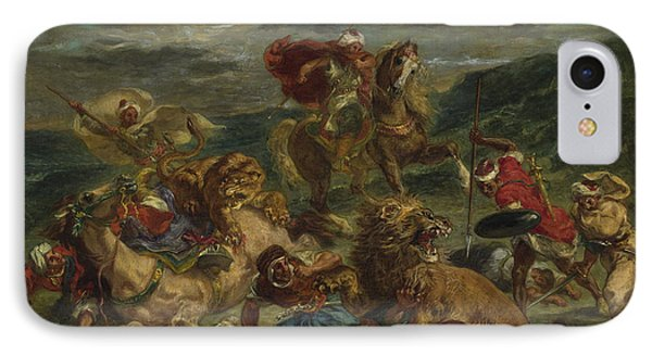 Lion Hunt IPhone Case by Ferdinand Victor Eugene Delacroix