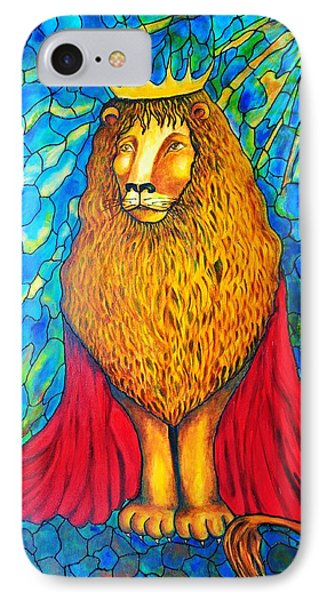 IPhone Case featuring the painting Lion-king by Rae Chichilnitsky