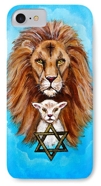 IPhone Case featuring the painting Lion Lies Down With A Lamb by Bob and Nadine Johnston