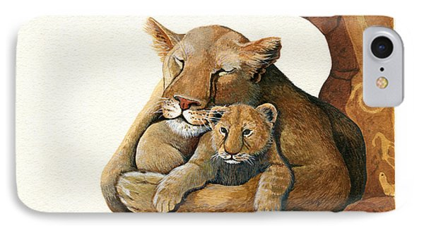 IPhone Case featuring the painting Lion - Protect Our Children Painting by Linda Apple