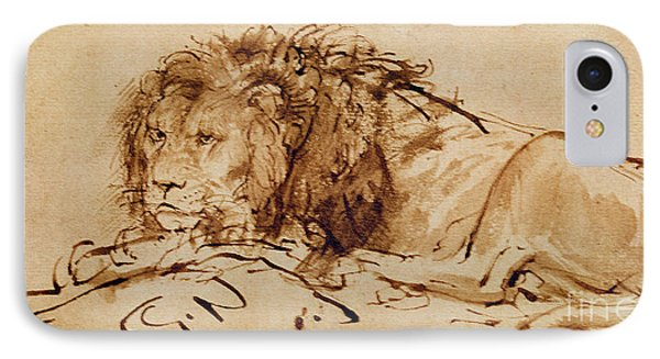 Lion Resting IPhone Case by Rembrandt