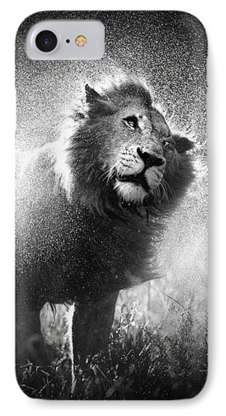 Lion Shaking Off Water Phone Case by Johan Swanepoel