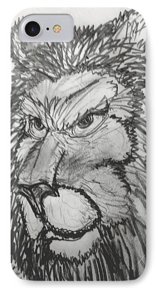 Lion Sketch  IPhone Case by Yshua The Painter