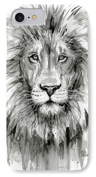 Lion iPhone 7 Case - Lion Watercolor  by Olga Shvartsur