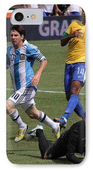 Lionel Messi Beats Rafael Cabral IPhone Case by Lee Dos Santos