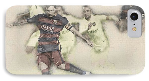 Wayne Rooney iPhone 7 Case - Lionel Messi Scores A Penalty Kick Against Levante  by Don Kuing
