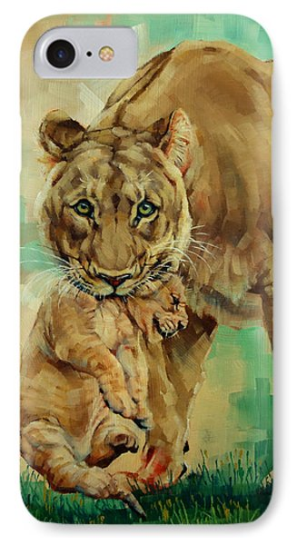 Lioness And Cub IPhone Case by Margaret Stockdale