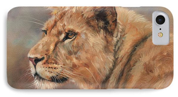 Lioness Portrait IPhone Case by David Stribbling