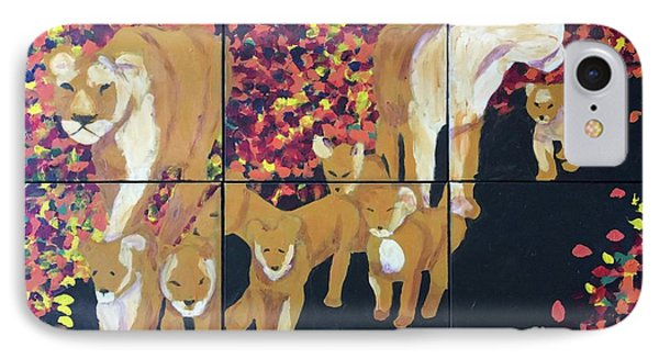 IPhone Case featuring the painting Lioness Pride by Donald J Ryker III