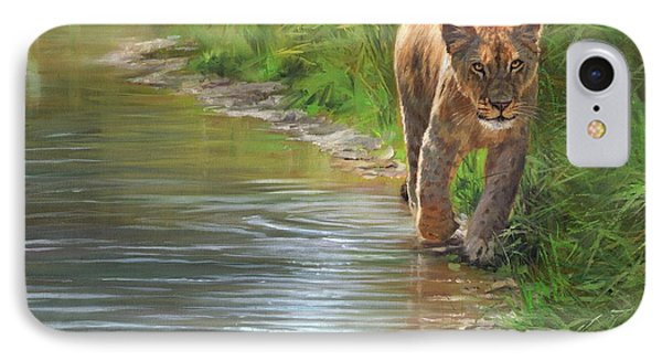 Lioness. Water's Edge IPhone Case by David Stribbling
