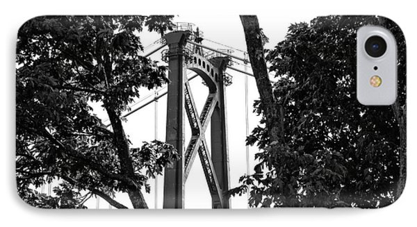 Lions Gate Between The Trees Mono IPhone Case by John Rizzuto