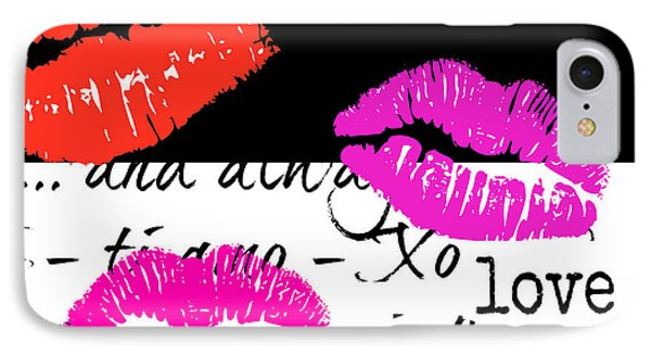 Lips And Kisses And Love Art IPhone Case by WALL ART and HOME DECOR