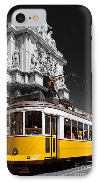 Lisbon's Typical Yellow Tram In Commerce Square Phone Case by Jose Elias - Sofia Pereira
