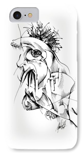 IPhone Case featuring the drawing Listen by Keith A Link