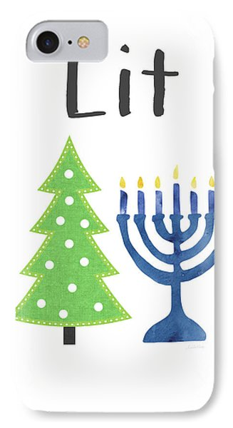 Lit Christmas And Hanukkah- Art By Linda Woods IPhone Case